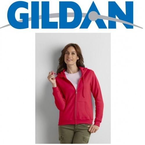 FELPA FEMMINILE ZIP INTERA GILDAN CON  CAPPUCCIO