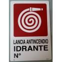 CARTELLA SEGNALETICA LANCIA ANTINCENDIO IDRANTE