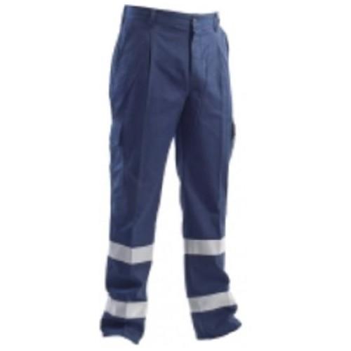 Pantalone In Fustagno Blu Con Bande